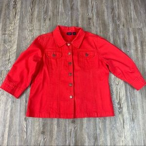 Westbound Red Denim Jean Jacket Size Petite Large